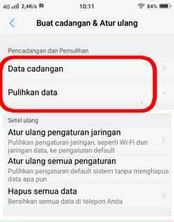 menu pulihkan data cadangan vivo