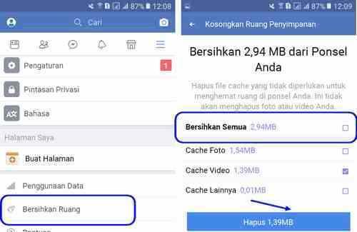 delete cache facebook