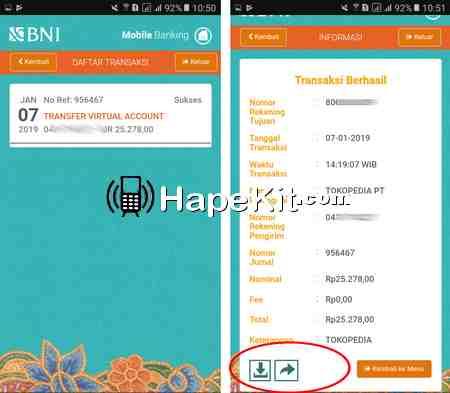 Nota transaksi di BNI mobile banking