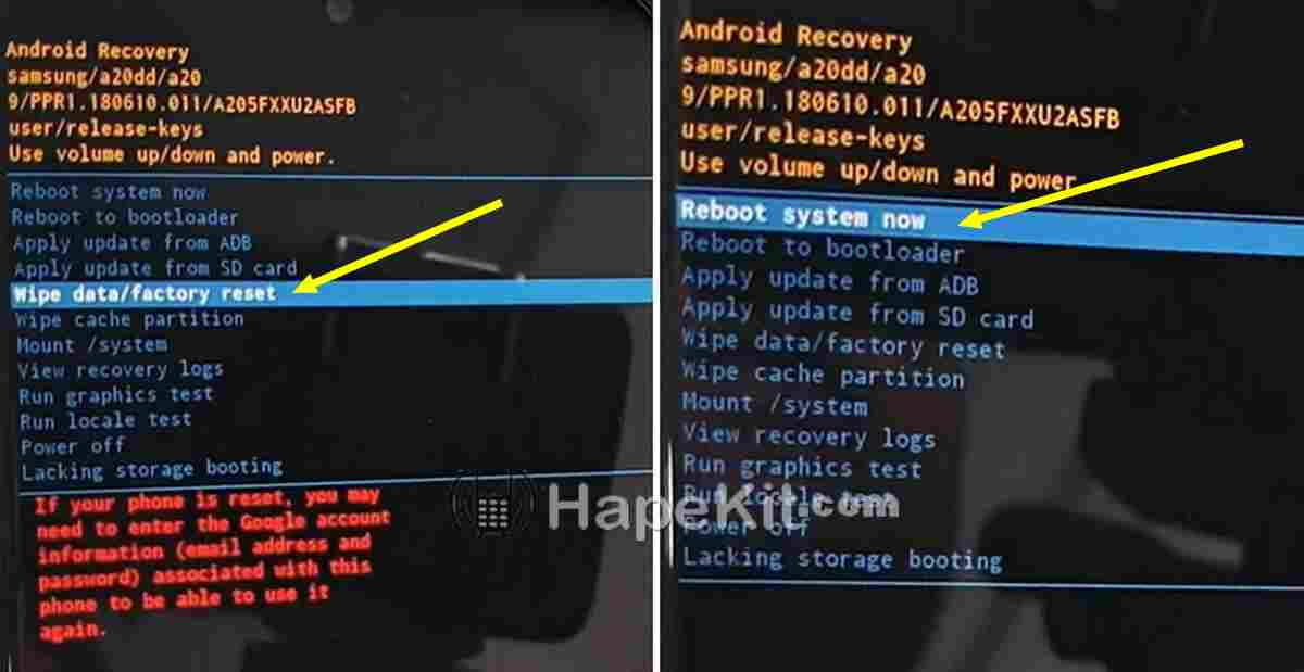 mode recovery samsung A20