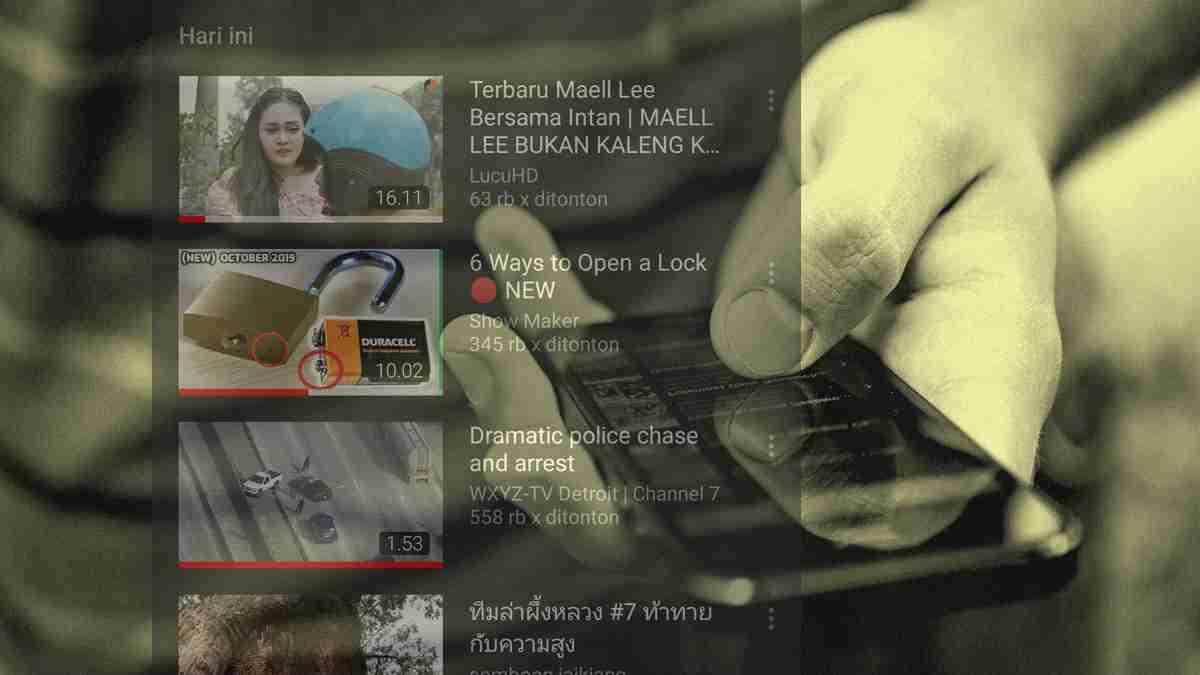 mencari dan menghapus riwayat video youtube