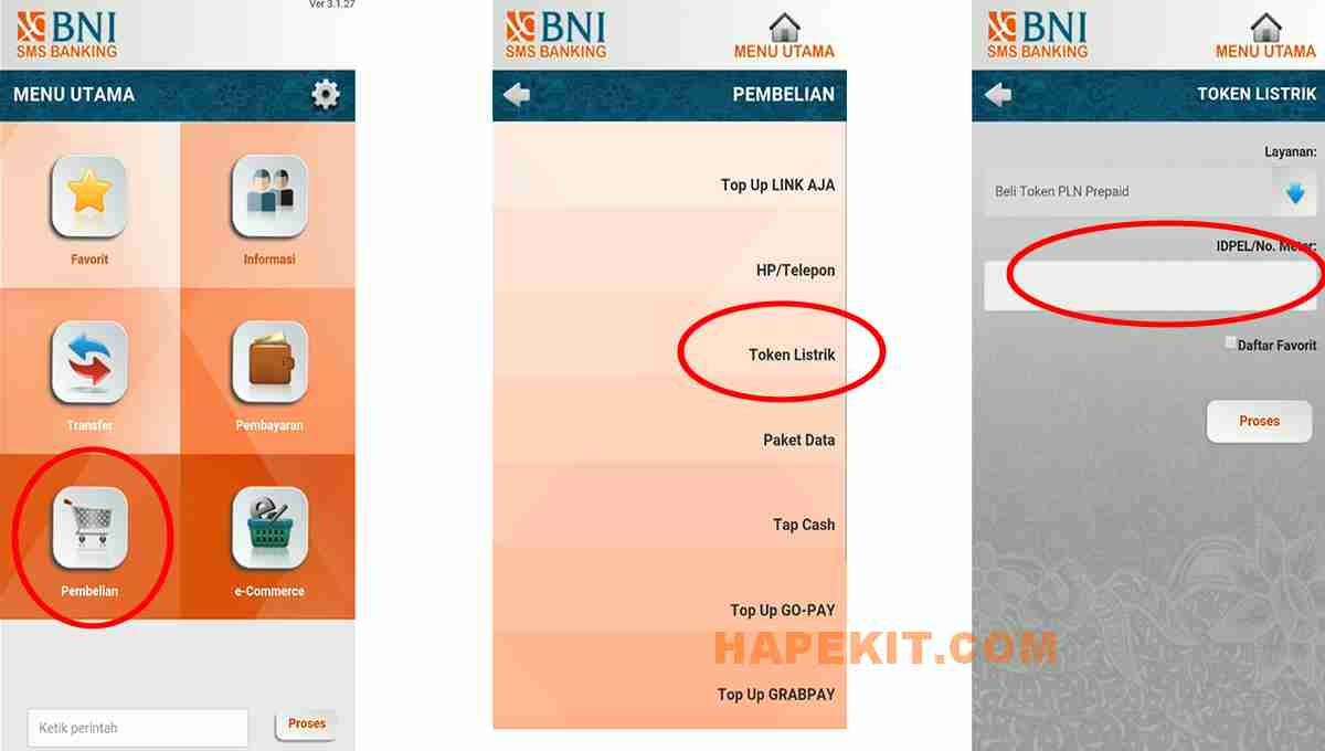 mENU BELI TOKEN LISTRIK VIA SMS BANKING