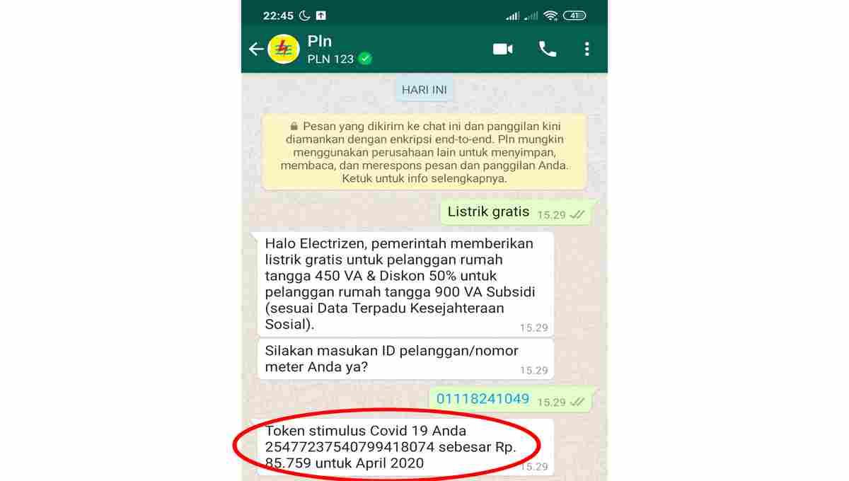 mengambil pulsa listrik gratis via WhatsApp