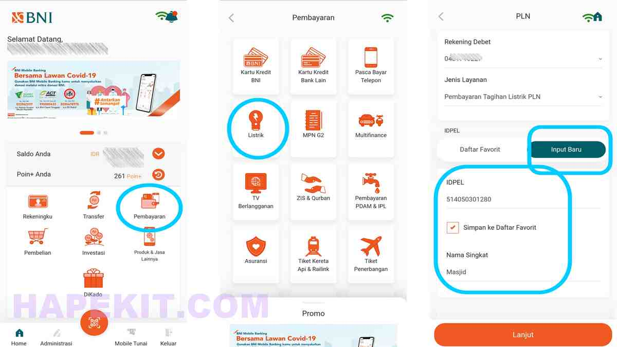 letak menu pembayaran listrik bulanan BNI Mobile