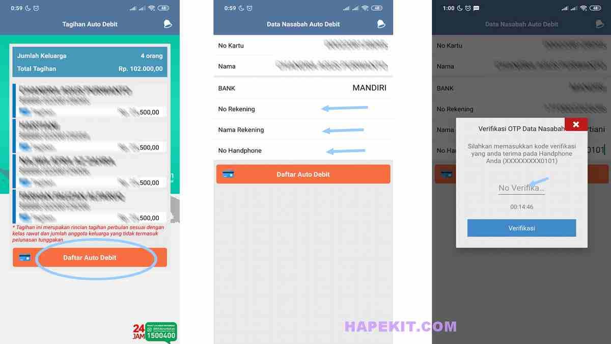 Verivikasi SMS OTP autodebet BPJS rekening mandiri